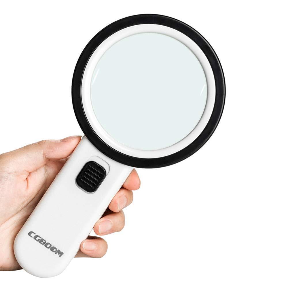 LIJUNDAN-Lupe Leselupen HD LED-Handlupe mit 12 LED-Doppelglaslinsen für ältere Personen, Münzen, Briefmarken, Karten, Schmuck und Inspektionen Lesehilfen