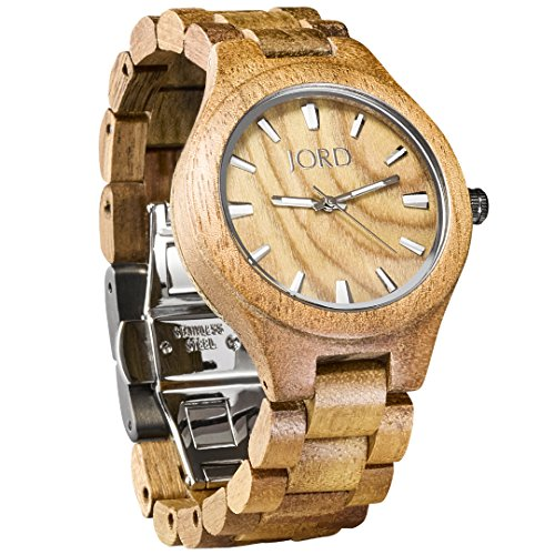 JORD Wooden Wrist Watches for Men or Women - Fieldcrest Series / Wood Watch Band / Wood Bezel / Analog Quartz Movement - Includes Wood Watch Box (Koa & Burl) by Jord