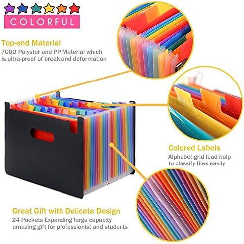 Protable organizer espandibile portadocumenti cartellina con nastri colorati formato A4 24/Pocket Expanding file