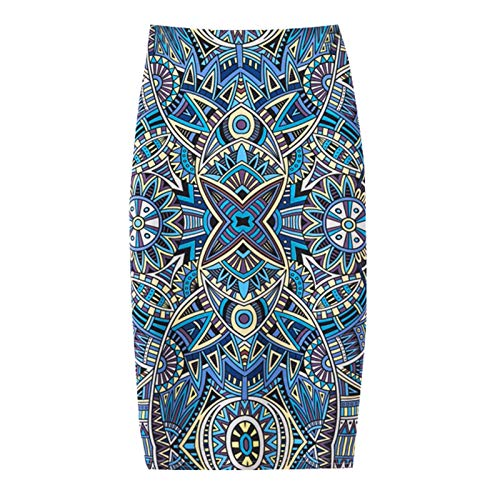 Thenxin Women's Fashion Summer Casual Bag Hip Skirt Print Knee-Length Slim Pencil Skirt(Light blu,S) ()