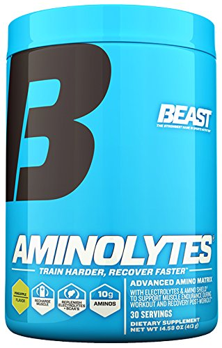 Beast Sports Aminolytes Amino Acid Powder. Intra-Workout/Post-Workout Formula with 10 Gms of Aminos, 5 Gms of BCAA plus Electrolyte for Endurance and  Rapid Recovery. 14.6 Oz, 30 Servings, Pineapple