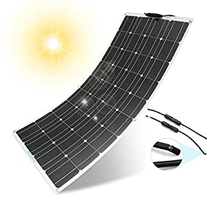Solar Panel Charger, MOHOO 100W 18V 12V Ultra Thin Flexible Lightweight Cells Solar with MC4 Connector for RV Boat Cabin Tent Car (Compatibility with 18V and Below Devices)(Updated)