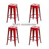 Classic Style Office Dining Room Chair Stackable Backless Solid Metal Seat Indoor Outdoor Set Of 4 Bar Stools - New Red #1072