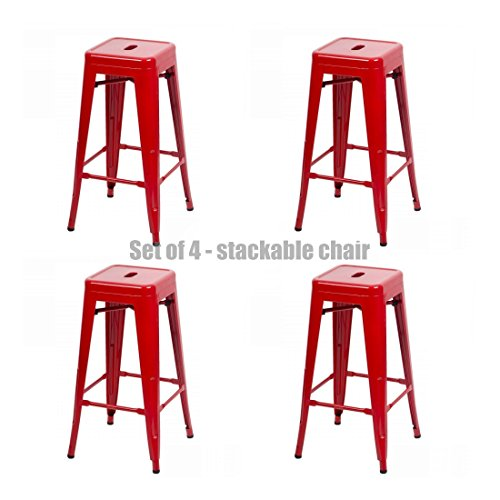 Classic Style Office Dining Room Chair Stackable Backless Solid Metal Seat Indoor Outdoor Set Of 4 Bar Stools - New Red #1072 by Koonlert@shop
