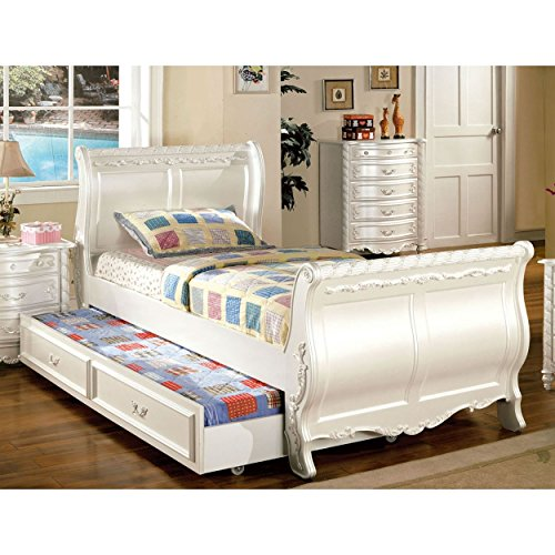 FA Furnishing Addison Girls Sleigh Twin Bed without Trundle in Pearl White (Sleigh Pearl)