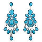 Lux Accessories Silver Tone Blue Faux Turquoise Chandelier Statement Earring