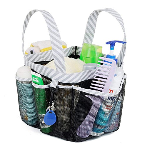 Haundry Mesh Shower Caddy Tote, Large College Dorm Bathroom Caddy Organizer with Key Hook and 2 Oxford Handles, Quick Hold, 8 Basket Pockets for Camp Gym