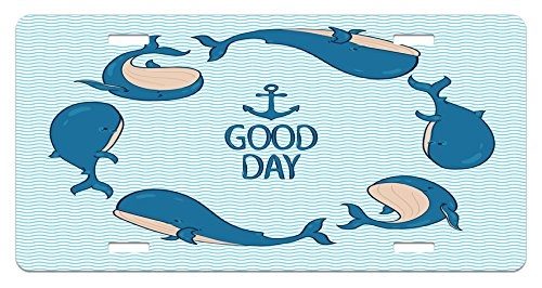 (Lunarable Anchor License Plate, Whales Predator Animals Underwater Life Maritime Travel Swimming Seaside, High Gloss Aluminum Novelty Plate, 5.88 L X 11.88 W Inches, Blue Cream Pale Blue)