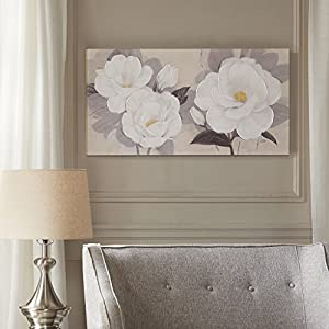 """Madison Park, Midday Bloom Florals Wall Art Hand Embellished Oversize Canvas, Modern Floral Design, Global Inspired Painting Living Room Accent Décor, Multi, 39 x 19"""""""