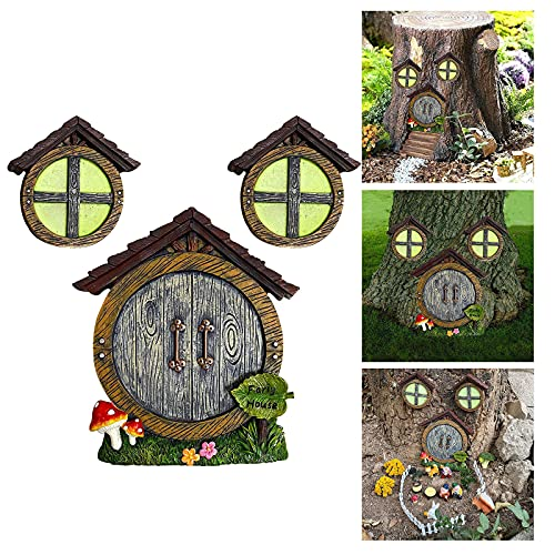Ymibull Miniature Gnome Home Window and Door for Trees Yard Art Garden Sculpture Decor Garden Gnome