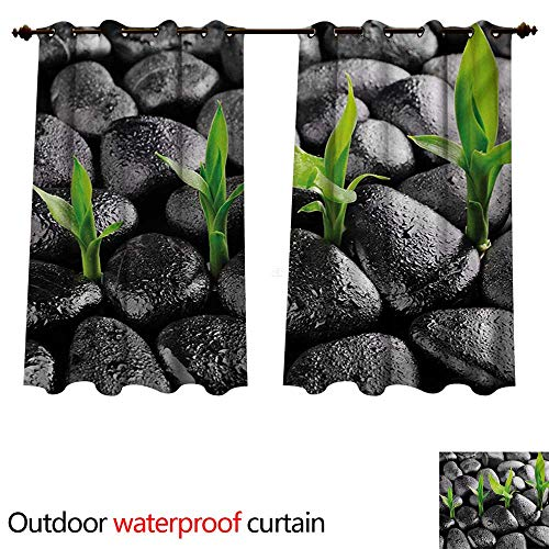 Chrome Water Water Harmony - WilliamsDecor Plant Outdoor Ultraviolet Protective Curtains Basalt Stones with Bamboo Leaves Sticking Water Droplets Harmony of Nature W108 x L72(274cm x 183cm)