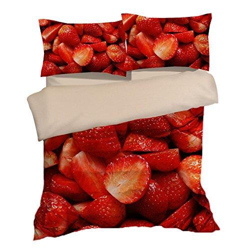 Fantastic Strawberry Cotton Microfiber 3pc 104''x90'' Bedding Quilt Duvet Cover Sets 2 Pillow Cases King Size by DIY Duvetcover