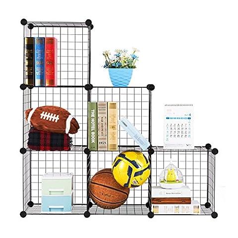 LANGRIA Modular Shelving Grids, DIY Closet Organization System, Metal Wire Storage Cubes Organizer, Bookcase, Cabinet, (6 - Regular - Modular Office Storage