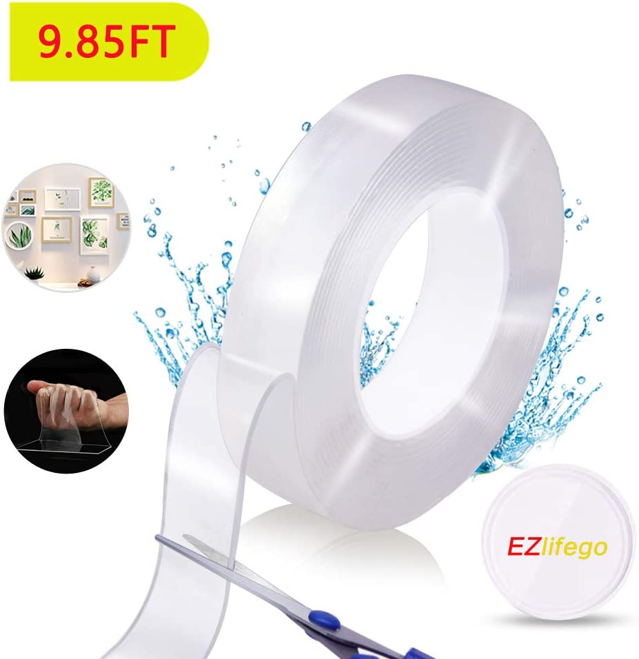 EZlifego Double Sided Tape Heavy Duty, Multipurpose Nano Removable Traceless Mounting Tape,Washable Adhesive Grip Strong Sticky Transparent Strips Wall Tape Poster Tape for Paste Items (9.85FT)
