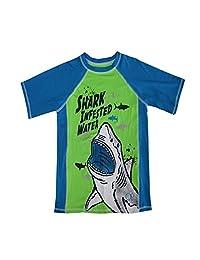 "OP Boys Green Blue ""Shark Infested Water"" Short Sleeve Rashguard 4-16"