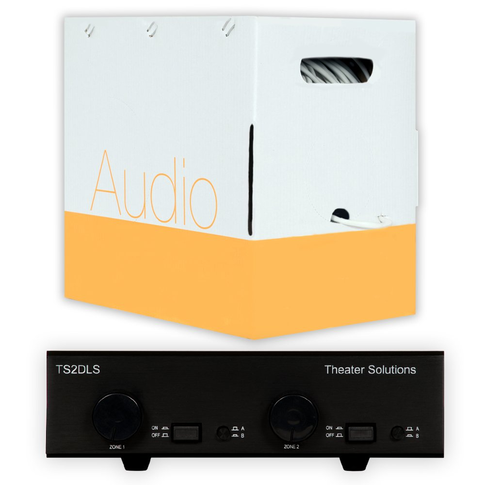 Theater Solutions TS2DLS Speaker Selector Box with Dual Source Volume Controls and C500-16-4 Wire by Theater Solutions