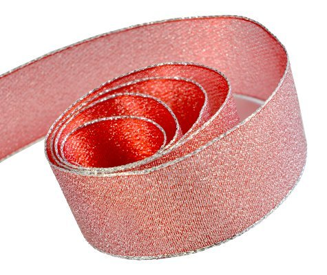 (Papillon Ribbon & Bow R097045-38-COM1-50YD 1.5 in. 50 Yards Precious Frost Metallic Cross Weave Ribbon With Wire Edge44; Silver & Pink)