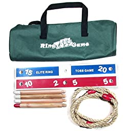 Elite Ring Toss Game - Kids Games Improve Eye-Hand Coordination and Fine Motor Skills - Compact Carry Bag Included, plus 10 Extra Plastic Rings