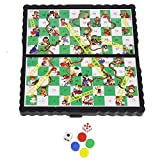 GLOW Compact Magnetic Board Games in Folding Case – Snakes and Ladders - Easy to Play Mini Classic Family Home Party Board Game Car Travelling Play Activity with Traditional Gameboard, Magnetic Counters and Dice - Hours of Travel Fun for Family and Friends in Car, Train, Plane, Holiday, Vacation, Camping – Great Gift Present Idea for Kids Children and Adults Birthday Christmas Xmas - Suitable for 2 or More Players - Ages 3 and Up