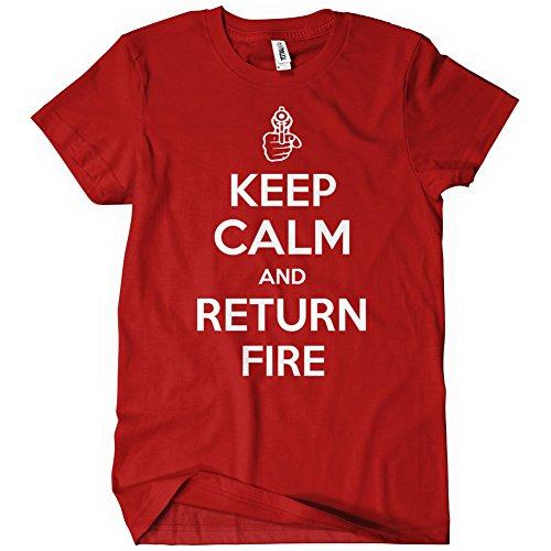 Womens KEEP CALM AND RETURN FIRE T Shirt Tee T Ammo Guns 2nd Amendment Rights Arms