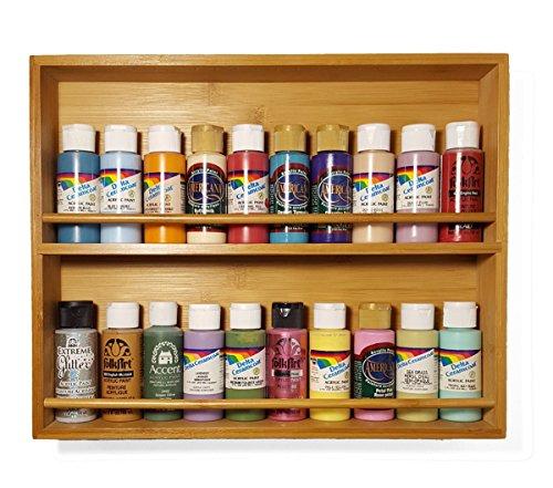 Modular Literature Rack - Craft acrylic paint storage rack, solid wood shelf, bamboo, 2 tier, modular wall mount organizer