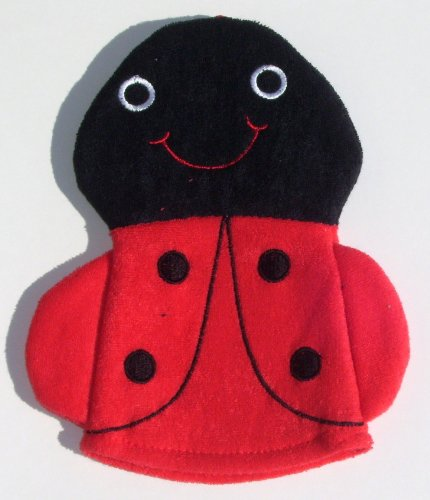 Knit Terry Character Bath Puppet / Wash Cloth / Bathmitt / Bath Mitt (Red (Lady Bug)), Health Care Stuffs