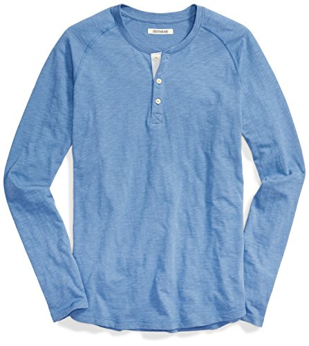 Goodthreads Men's Long-Sleeve Lightweight Slub Henley, Moonlight Blue/Blue, X-Large