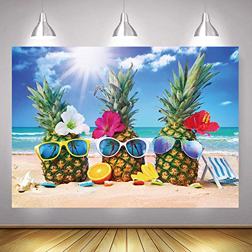 Vinyl Summer Beach Photography Backdrop Hawaii Seaside Funny Pineapple Party Background Fiesta Theme Birthday Party Banner Decoration Supplies Photo Booth Props 7x5ft -
