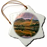 3dRose Danita Delimont - Rainbows - Rainbow over Twin Lakes and Sawatch Range, Colorado, USA - 3 inch Snowflake Porcelain Ornament (orn_259141_1)