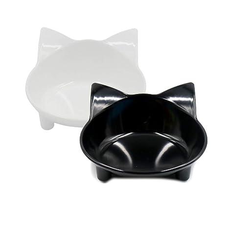 MONEIL - Cuencos para Gatos de melamina, Platos para Gatos pequeños y Anchos, Cuencos