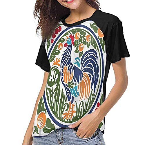 Women's Tops Blouses,Gallus,Rooster Earth Harvest Season S-XXL(This is for Size Small),Tee Tshirts Women