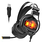 Stereo Gaming Headset, 7.1 Surround Sound USB Computer Gaming Headphones with Noise Cancelling Mic, Volume Control and Breathing LED Light Over Ear Headphones for PC Gamer