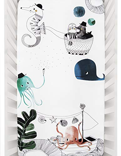 Rookie Humans 100% Cotton Sateen Fitted Crib Sheet: Underwater Love. Complements Modern Nursery, Use as a Photo Background for Your Baby Pictures. Standard Crib Size (52 x 28 inches) (Cotton Sateen) (Home Test To Find Out Gender Of Baby)