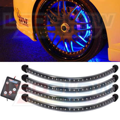 [LEDGlow 4pc Blue Flexible LED Wheel Well Fender Light Kit] (Blue Led Rim)