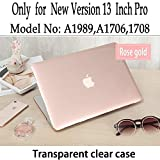 Twinscase Macbook Pro 13 Inch Cases A1706/A1708 Glossy Transparent Covers,Ultra Thin Anti-scratch Dustproof Rubberized Macbook Case Shell Cover for Macbook Pro 13 Inch A1706/A1708(Rose gold)