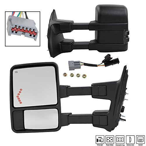 MOTOOS Tow Mirrors for 99-07 Ford F-250/F-350/F-450/F-550 Super Duty Towing Mirror Power Heated Smoke Turn Signal Arrow Driver & Passenger Side View