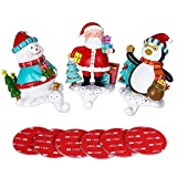 PBPBOX Christmas Stocking Holders Penguin Santa Snowman Stocking Hangers 5.5-Inch, Pack of 3
