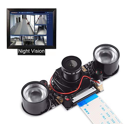 Dorhea Raspberry Pi 3 Model B Camera Module Automatic IR-Cut Sensor Night Vision Webcam HD Video 5MP 1080P OV5647 Adjustable Focus with 2 Pcs IR Sensor LED Light for Raspberry Pi 3/2 Model B/B+/A/A+ by Dorhea