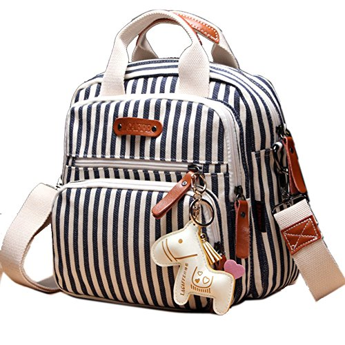 - LAGAFFE Girls Small Casual Canvas Stripe Shoulder Top Handle Handbag Crossbody Satchel Purse Backpack