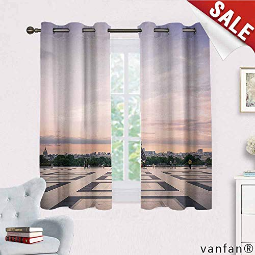 Big datastore Paris City Decor Collection Curtain Set for Bathroom,Trocadero and Eiffel Tower at Sunshine Paris Skyline Historic Landscape View Cute Drapes for Space Themed,Grey Ivory W55 x L72