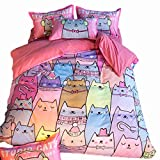 MeMoreCool Children Cartoon Cats AB Version Reactive Printing Bedding Sets Polyester with Good