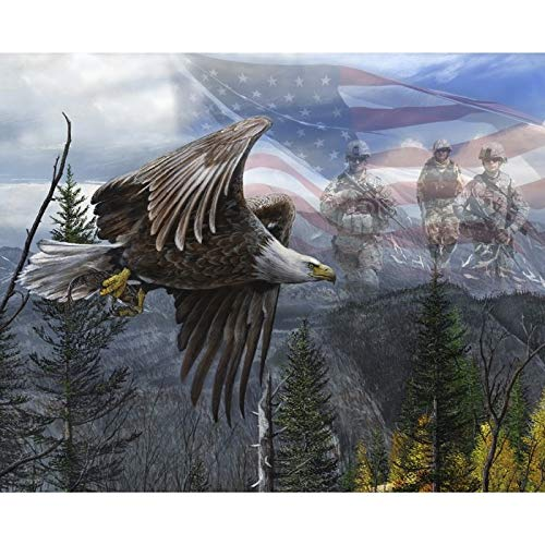 American Soldiers & Eagle Digital Cotton Print Fabric - Quilt Fabric Patriotic