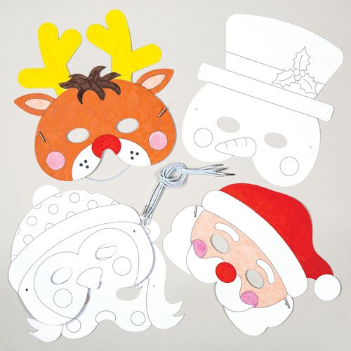 Baker Ross Christmas Color-in Card Masks for Children to Design Decorate and Wear for Craft Party - Make Your Own Accessory (Pack of -
