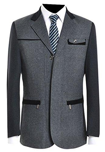 Mens Camel Hair (ainr Men's Camel Hair Blazer Modern Fit Suit Jacket Grey XXL)