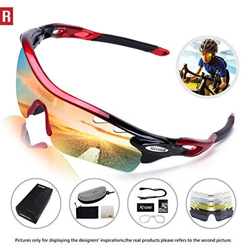 Rocknight Polarized Sports Sunglasses for Men Women with 5 Interchangeable Lenses Cycling Running Driving Baseball Glasses UV Protection Red - Bike 5 Lens Polarized Sunglasses