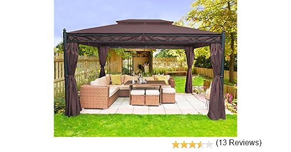 Gazebo 4 x 3 m Greenbay de metal con toldos incluidos para el jardín: Amazon.es: Jardín