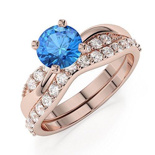 Or Rose 18carats 1CT G-H/VS sertie de diamants Coupe ronde Topaze bleue et de mariage Bague de fiançailles et ensemble de Agdr-2023