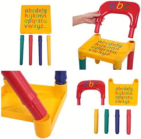 MARSPOWER Toddler Table And Chair Set, Kid Letter Table And Chair For Kids Arts & Crafts Snack Time Homeschooling Homework & More