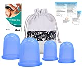 Silicone Cupping Therapy Set Anti Cellulite Cups (4pcs Kit) w/ FREE E-book & Instruction (PDF) Full Body Vacuum Suction Cupping Massage - FDA Approved - Natural Pain Relief (2 Medium + 2 Large)