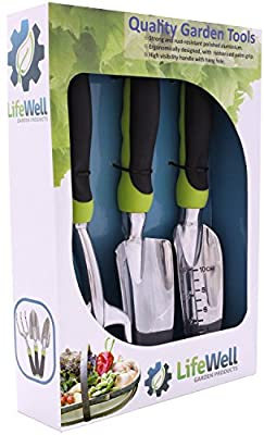 Premium 3-Piece Garden Tool Set. The Toughest Gardening Tools You'll Ever Buy! Perfect Gift With Lifetime Warranty. Set Includes Trowel, Transplanter, Rake / Cultivator PLUS Growing Tips E-Book.